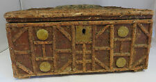 Antique wood fir and velour Folk Art Sewing Chest Box Black Forest Gothic