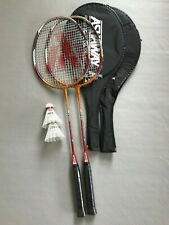 NEW 2 x PLAYER BADMINTON SET WITH ASHAWAY RACKETS AND ADIDAS SHUTTLES RED / GOLD