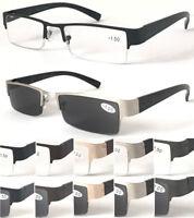 R414-A Men' Semi-Rimless Reading Or 100%UV400 Protection Sun-Reader/Spring Hinge