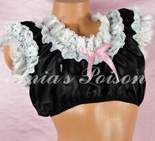 Sissy Maid black taffeta Frilly Ruffled OS Bra Crop Top Shirt Lolita cosplay