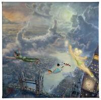 Thomas Kinkade Disney Tinker Bell and Peter Pan Fly to Neverland 14 x 14 G. Wrap