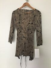 Connected Apparel Women's  Asymmetrical Tunic/Top size 10  Brown Leaves.