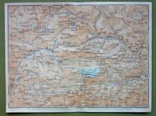 ITALY Alps Piedmont Marmolata Bocca Pietore Alba - 1911 MAP ORIGINAL Baedeker
