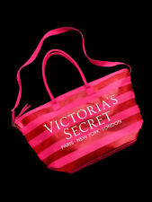 NEW Victorias Secret Extra Large Metallic Stripe Zip Tote Travel Duffel Pink Bag