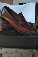CAMPANILE LEATHER BROWN SANTONI STYLE LOAFER! 100% PELLE MADE IN ITALY WITH BOX!