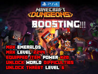 Minecraft Dungeons PS4 Mod Max Emerald Level Equipped Item Power (NOT A GAME)