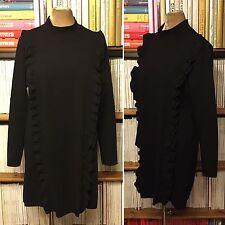 Vestido estilo túnica ZARA negro volantes Babero L UK 10-12/US 6-8 1960s 1970s