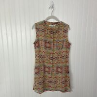 Cabi Top Small #790 Avery Tunic Multicolor Sheer Sleeveless Spring Summer Fun