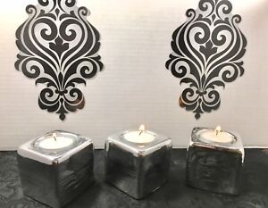 3pc Silver Ceramic Tealight Candle Holder Set Holiday Gift Free Shipping Sale