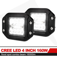 2x 4inch 160W Flush Mount CREE LED Work Light Pods Combo Driving Lamp 12V 24V 5""