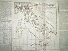 Carta Geografica Italia Politica Campagna Napoleone, Championet e Macdonald 1825