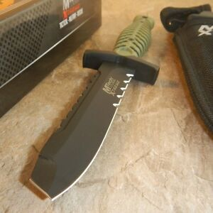 """MTech Xtreme Green Handle 9.5"""" Blunt Tip Tactical Fixed 440C Blade Knife +Sheath"""