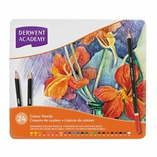 Derwent ACADEMY Coloured Pencils, Assorted, 24pk Set in Tin, Blendable *NEW*