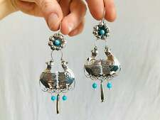 Taxco Silver Bird Earrings. Turquoise & Sterling Silver. Mexico. Frida Kahlo