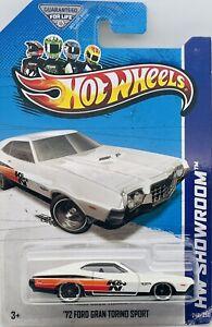 2013 Hot Wheels Showroom White 1972 Ford Gran Torino Sport Performance #242/250