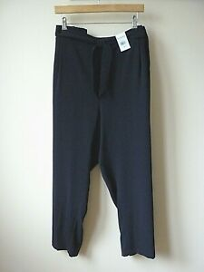 Women Ex Evans Navy Pocket Tie Front Straight Leg Trouser Plus Size SHORT 22-26