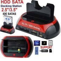 All in 1 HDD Docking Station Dual HUB IDE SATA USB Hard Drive Card Reader Dock