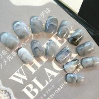 24 x Grey Marble fingernail tips Short False Nails Acrylic Full Cover Nail