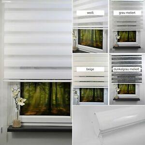 Doppelrollo Duorollo mit Kassette Blende weiß grau Fensterollo mit Seitenzug Tür