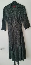 Monsoon wrap up dress uk 12 floral 3/4 sleeves pure thin cotton MINT