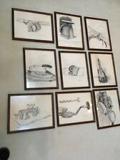 9 Unique Vtg ORIGINAL ART charcoal DRAWING. Signed. Price Is For Each Piece.