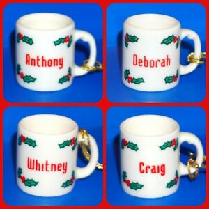Ganz Mini Mug Cup Christmas Ornament White Red Green Personalized Pick Name JB