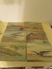 """Lot of 6 1963 John T.McCoy Prints of Planes Each are 7"""" Tall x 10"""" Wide on Wood"""