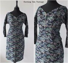 Vintage 1950s Original Dress Wiggle Oriental Pagoda Novelty Rockabilly Dress 6 8