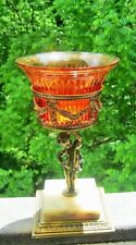 ART NOUVEAU PAIRPOINT BRASS & MARBLE CHERUB PEDESTAL FOOTED AMBER GLASS COMPOTE
