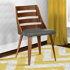 Armen Living Storm Dining Chair in Walnut and Gray Faux Leather $199
