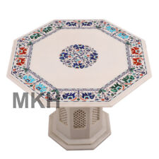 Octagon White Marble Vintage Coffee Table Stone Inlay End Table Top Mid Century