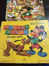 Disney Mickey Mouse & Friends Picture Puzzle Wood Blocks W. Germany Vintage Toy