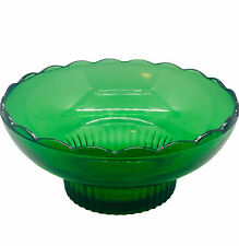 "New ListingVtg Eo Brody Green Depression Glass M2000 Bowl Scalloped Rim Cleveland Oh 6.5""W"