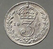 1916 UK Great Britain United Kingdom KING GEORGE V Silver Threepence Coin i57774