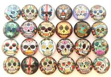 20 SKULL CABOCHONS/DEATH SKELETON HEAD 12MM-ROUND GLASS/FLATBACK CABOCHON-MUERTE