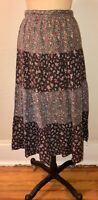VTG 70'S BOHO HIPPIE COTTAGECORE FLORAL PRINT CALICO PRARIE SKIRT*S