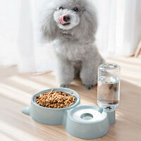 Automatic Pet Food Drink Dispenser Dog Cat Puppy Feeder Water Double Bowl Dish