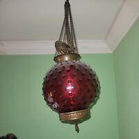 Ca.1910 Antique VICTORIAN CRANBERRY HOBNAIL Hanging OIL LAMP Chandelier COMPLETE