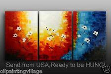 """Framed oil painting 3PC/set 72x36""""H hand painted Canvas Ready For Hung"""