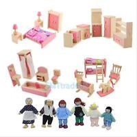Mini Wooden Furniture Dolls House Family Room Set Children Kids Gift Play Toys