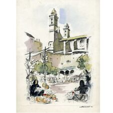 "Vintage French Lithograph, ""The Marketplace in Bastia, Corsica"", Signed Falcucci"