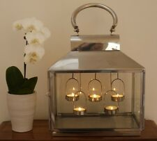 Polished Steel Lantern Glass Home Garden Antique 48cm