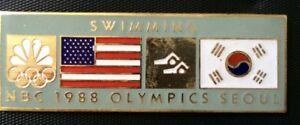NBC GUEST 1988 Seoul Olympic Commemorative Pin Summer XXIV Olympiad USA SWIMMING