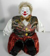 "Gold Deer And Co. 14"" Sitting Clown Porcelain Head, Hands & Feet Cotton Body"