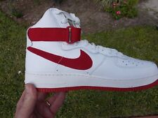 "Nike Air Force 1 High Retro QS ""Nai Ke"" White/Red 743546-100 Size 10.5 NEW"