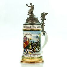 Regimental Lithophane Beer Stein | 1901 - 03 Antique German Lidded Military WWI