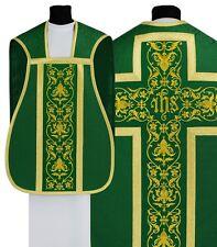 Green Roman Chasuble with stole R518-Z25 Casulla Romana Verde Casula Grün Kasel