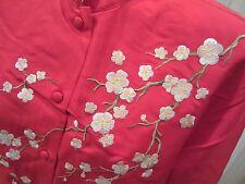 YI LIN Asian Mandarin Blouse RED 100% SILK Cherry Blossom Embroidery sz M NWT