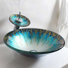 Blue&Gold Round Glass Vessel Sink&Chrome Harmony Waterfall Faucet Set Bath Decor
