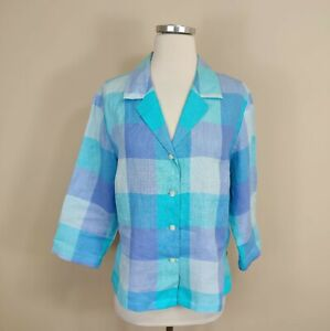 Talbots 14 Womens Irish Linen Shirt Blue Plaid Check Pattern Button Up
